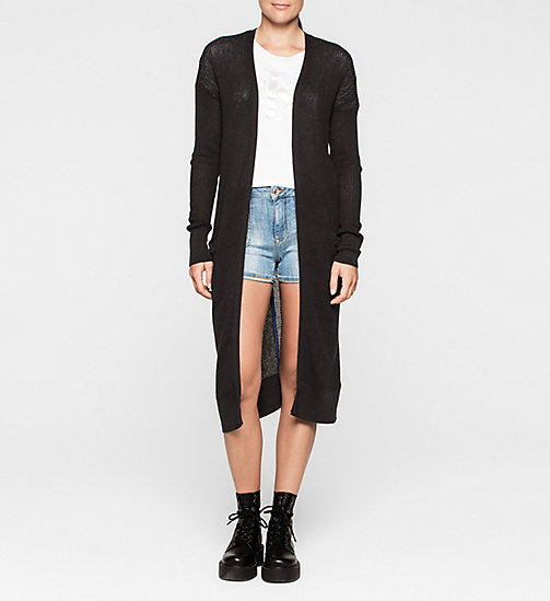 Long Mesh-Panelled Cardigan - CK BLACK - CK JEANS  - main image