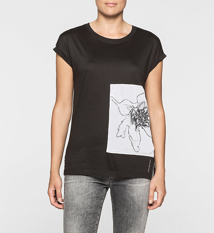 CKJEANS Straight Floral Panel T-shirt - CK BLACK - CK JEANS CLOTHES - main image