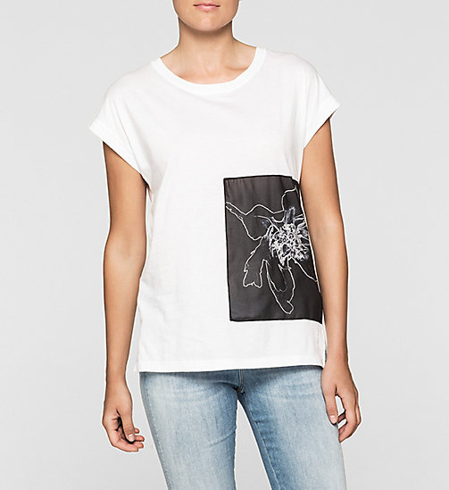 Straight Floral Panel T-shirt - BRIGHT WHITE - CK JEANS  - main image
