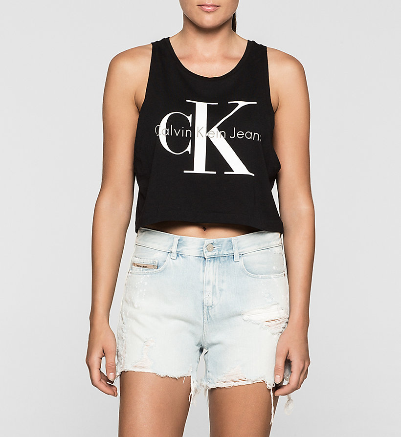 CKJEANS Cropped Logo Tank Top - BRIGHT WHITE - CK JEANS T-SHIRTS - main image