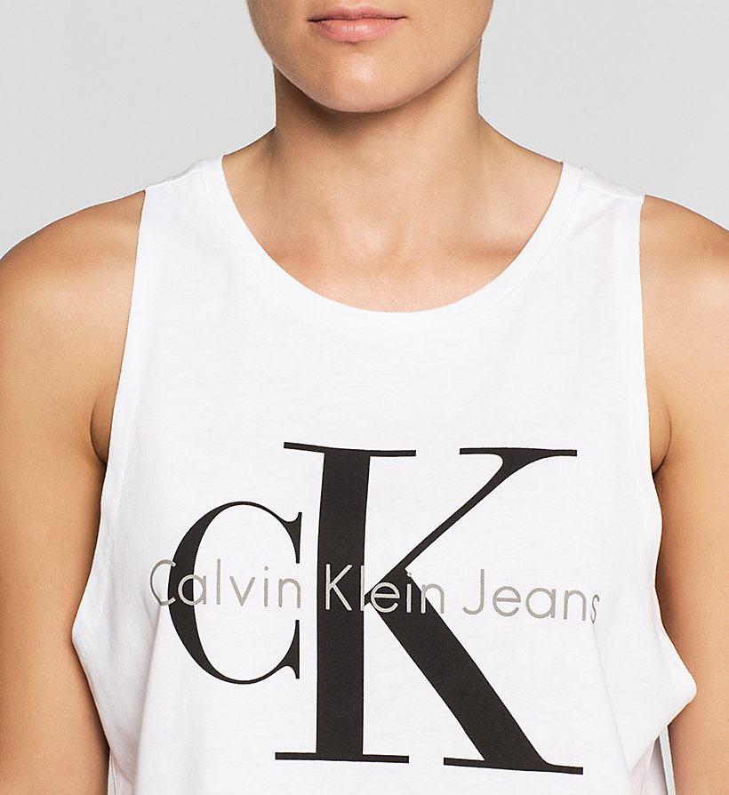 CKJEANS Cropped Logo Tank Top - BRIGHT WHITE - CK JEANS CLOTHES - detail image 2