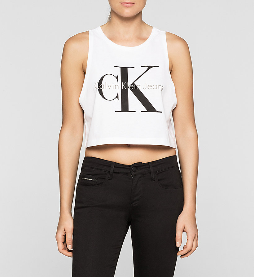 CKJEANS Cropped Logo Tank Top - BRIGHT WHITE - CK JEANS CLOTHES - main image
