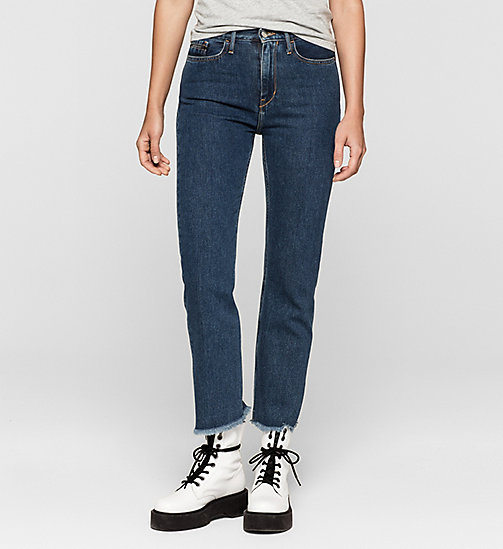 High Rise Straight Cropped Jeans - STONEY BLUE - CK JEANS  - main image