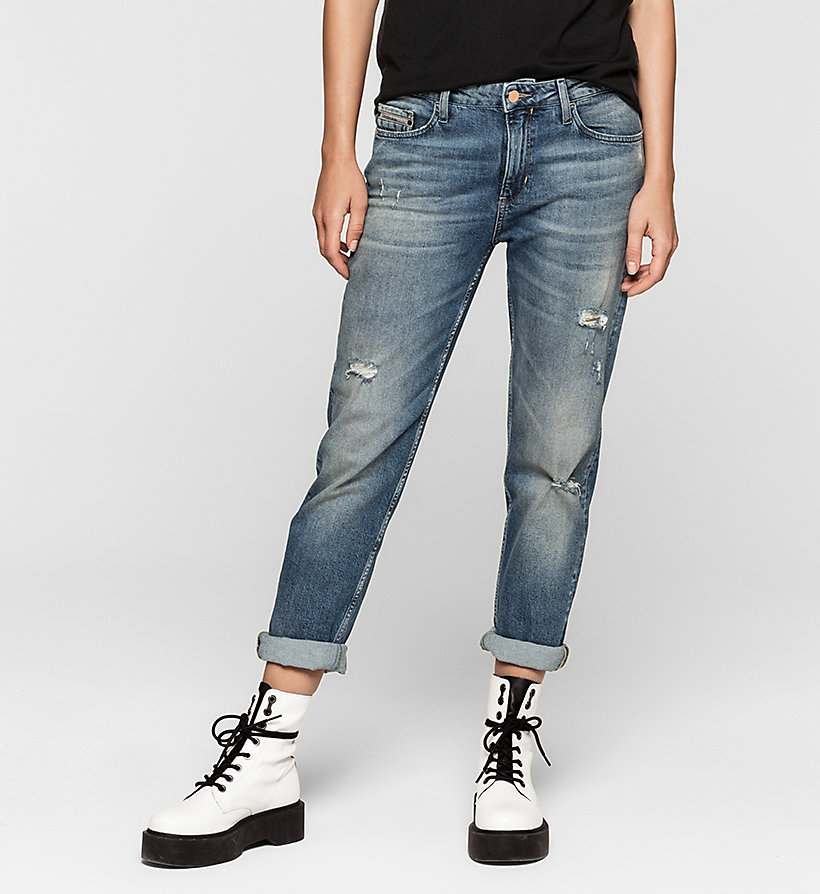 CKJEANS Mid Rise Slim Boyfriend Jeans - BLUE RIDDIM DESTRUCTED - CK JEANS CLOTHES - main image