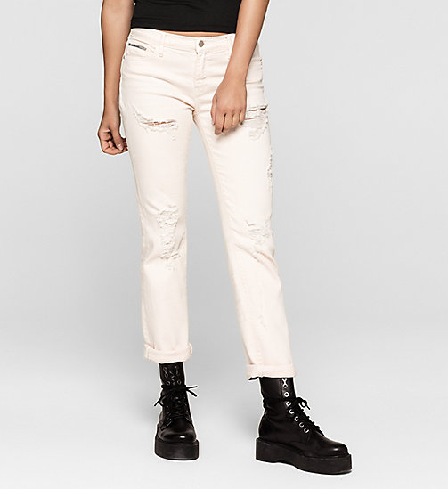 Mid Rise Straight Jeans - DESTRUCTED ROSE - CK JEANS  - main image