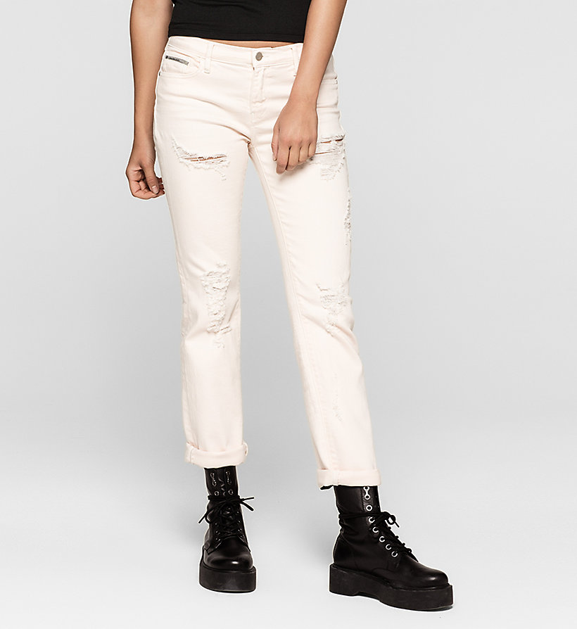 CKJEANS Mid-Rise Straight-Jeans - DESTRUCTED ROSE - CK JEANS JEANS - main image