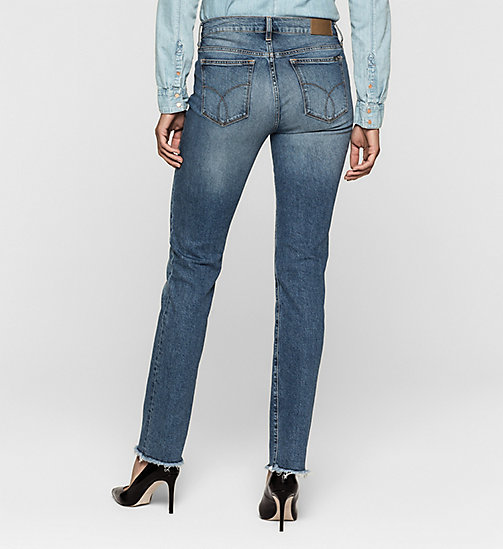 Mid Rise Straight Cropped Jeans - MOROCCAN BLUE - CK JEANS JEANS - detail image 1
