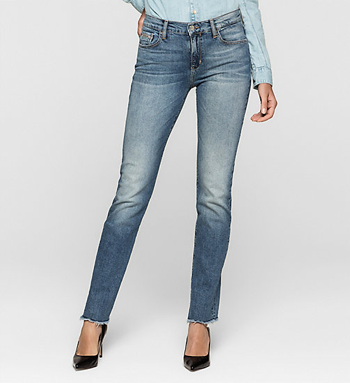 Jean court straight mid rise - MOROCCAN BLUE - CK JEANS JEANS - image principale