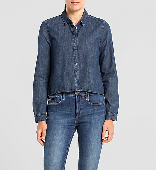 CKJEANS High Low Denim Shirt - BLUE STONE - CK JEANS SHIRTS - main image