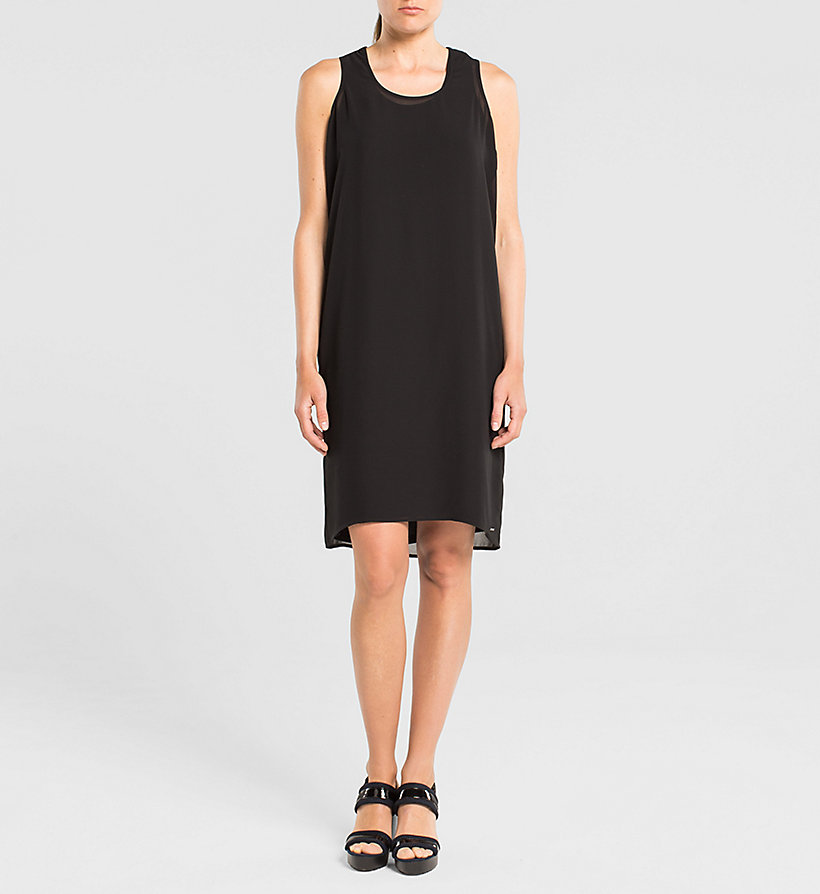 CKJEANS Racer Back Chiffon Dress - TOMMY BLACK - CK JEANS DRESSES - main image