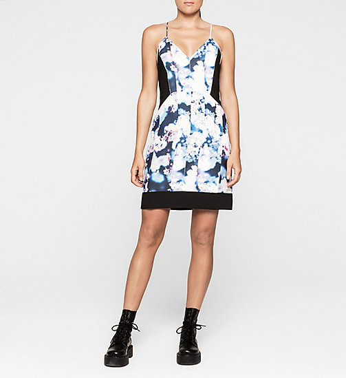 CALVINKLEIN Panelled Crepe Dress - IRRIDESCENT FLORAL - CK JEANS DRESSES - main image