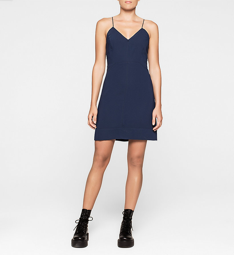 CKJEANS Panelled Crepe Dress - PEACOAT - CK JEANS DRESSES - main image