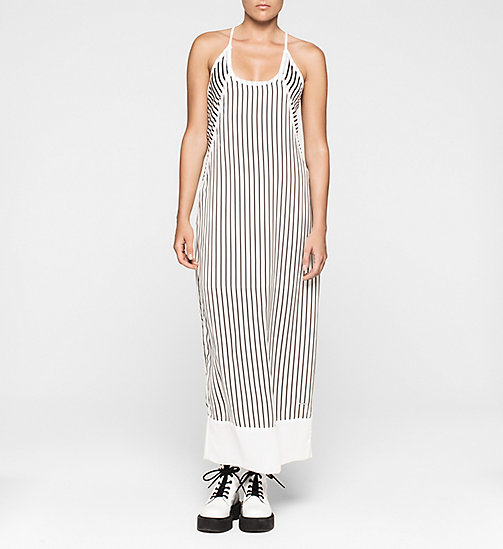 CALVINKLEIN Satin Maxi Dress - CK BLACK / BRIGHT WHITE - CK JEANS DRESSES - main image