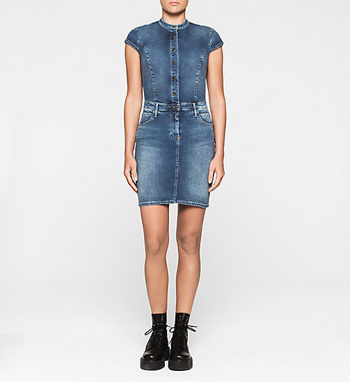 CALVINKLEIN Sculpted Denim Dress - STATIC BLUE - CK JEANS DRESSES - main image