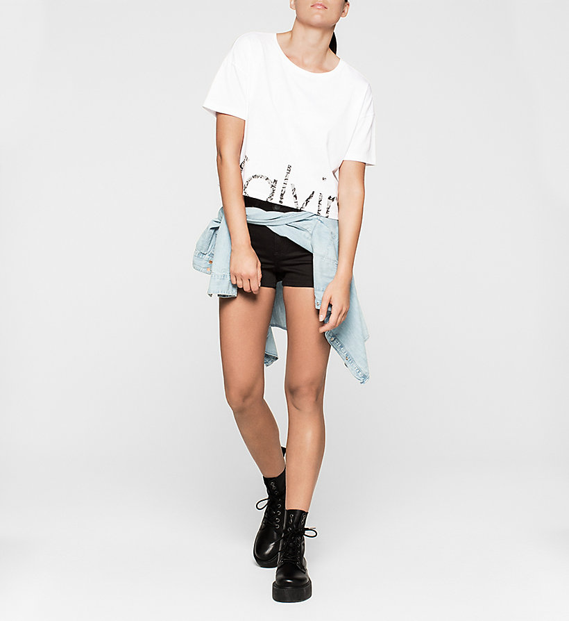CKJEANS Cropped Logo T-shirt - BRIGHT WHITE - CK JEANS CLOTHES - detail image 1
