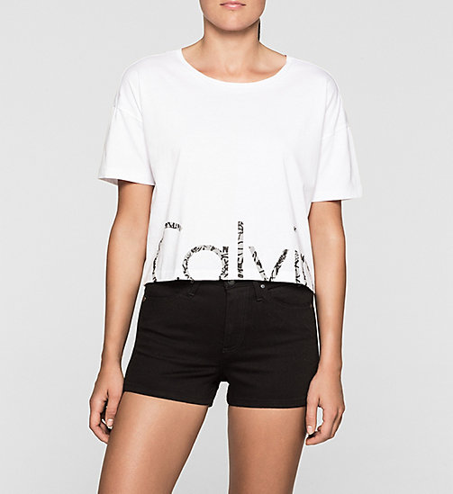 Cropped Logo T-shirt - BRIGHT WHITE - CK JEANS  - main image