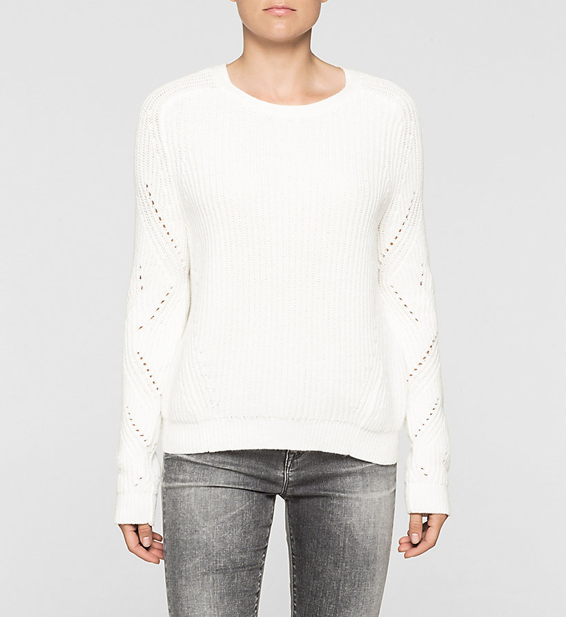 CKJEANS Ribbed Knit Sweater - BRIGHT WHITE - CK JEANS JUMPERS - main image