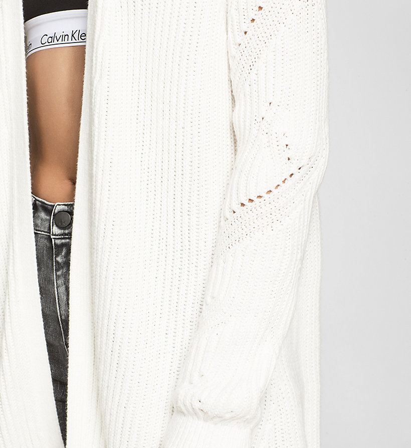 CKJEANS Long Open Front Cardigan - BRIGHT WHITE - CK JEANS JUMPERS - detail image 2