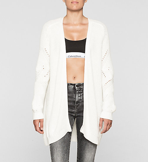 Long Open Front Cardigan - BRIGHT WHITE - CK JEANS JUMPERS - main image