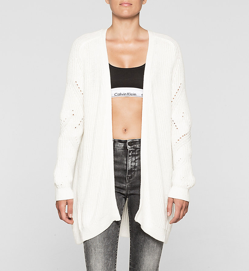 CKJEANS Long Open Front Cardigan - BRIGHT WHITE - CK JEANS JUMPERS - main image
