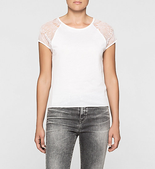 Lace-Trimmed T-shirt - BRIGHT WHITE - CK JEANS T-SHIRTS - main image