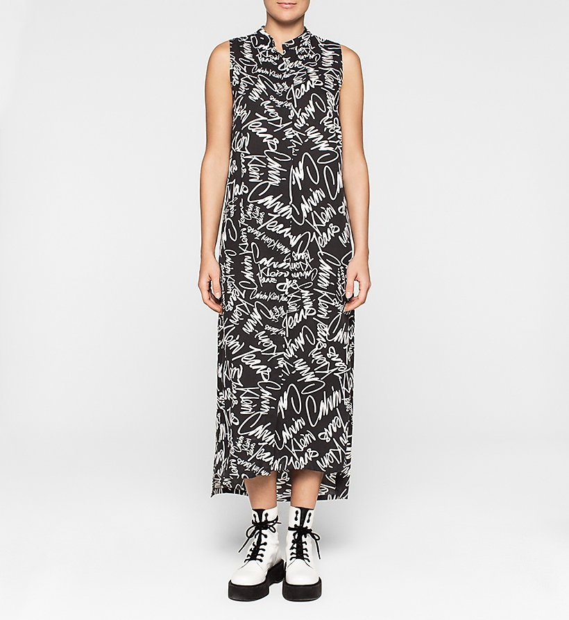 CKJEANS Graffiti Maxi Dress - SCRIBBLE LOGO / CK BLACK - CK JEANS DRESSES - main image