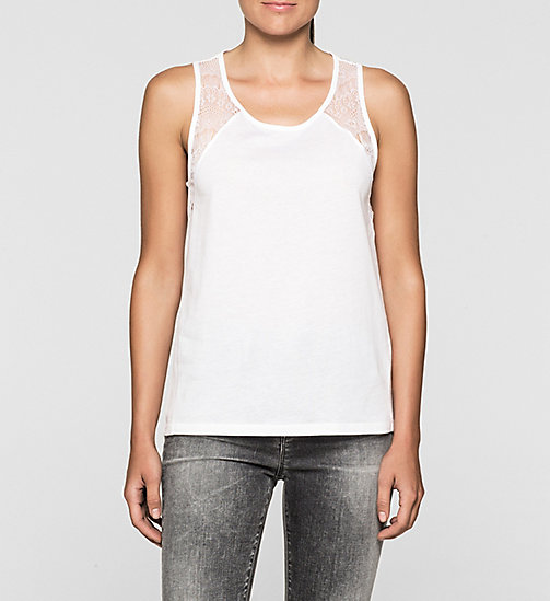 Lace-Trimmed Tank Top - BRIGHT WHITE - CK JEANS  - main image