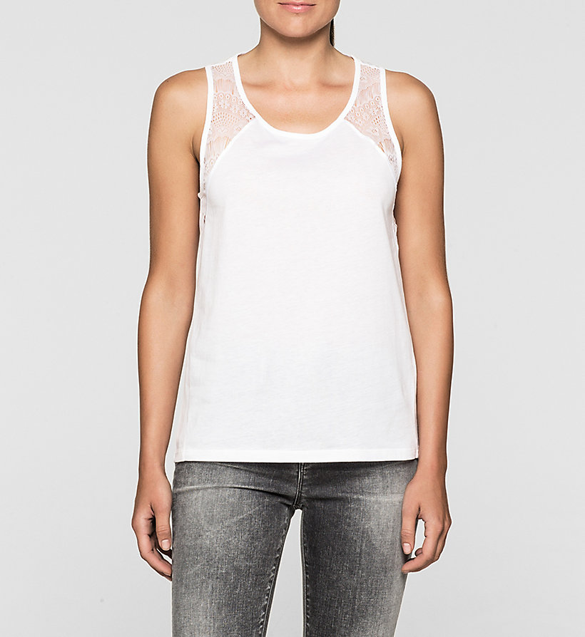 CKJEANS Lace-Trimmed Tank Top - BRIGHT WHITE - CK JEANS T-SHIRTS - main image