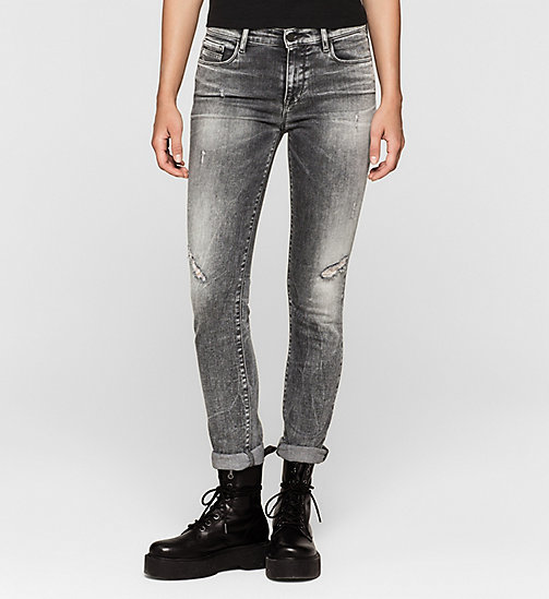 Mid Rise Slim Jeans - BROKEN GREY DESTRUCTED - CK JEANS JEANS - main image
