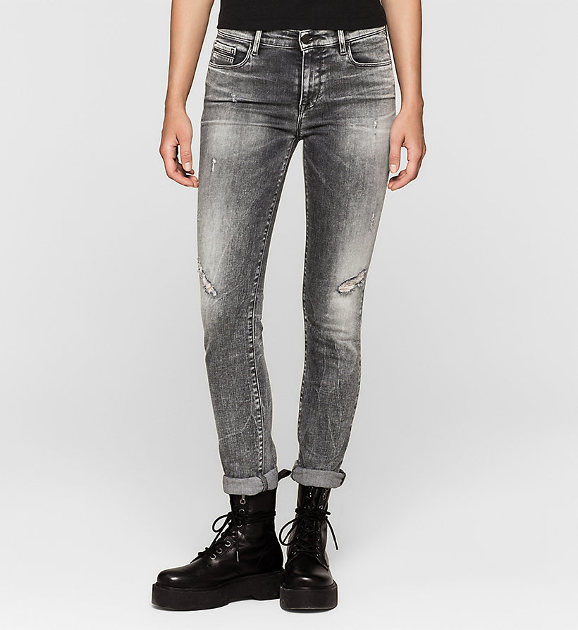 CKJEANS Mid-Rise Slim-Jeans - BROKEN GREY DESTRUCTED - CK JEANS JEANS - main image