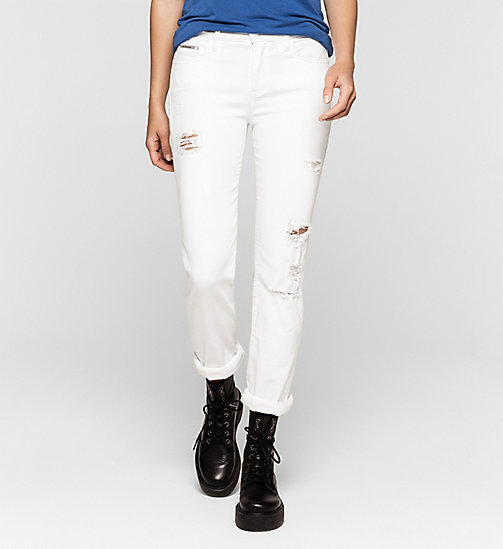 Mid Rise Straight Jeans - INFINITE WHITE DESTRUCTED - CK JEANS JEANS - main image