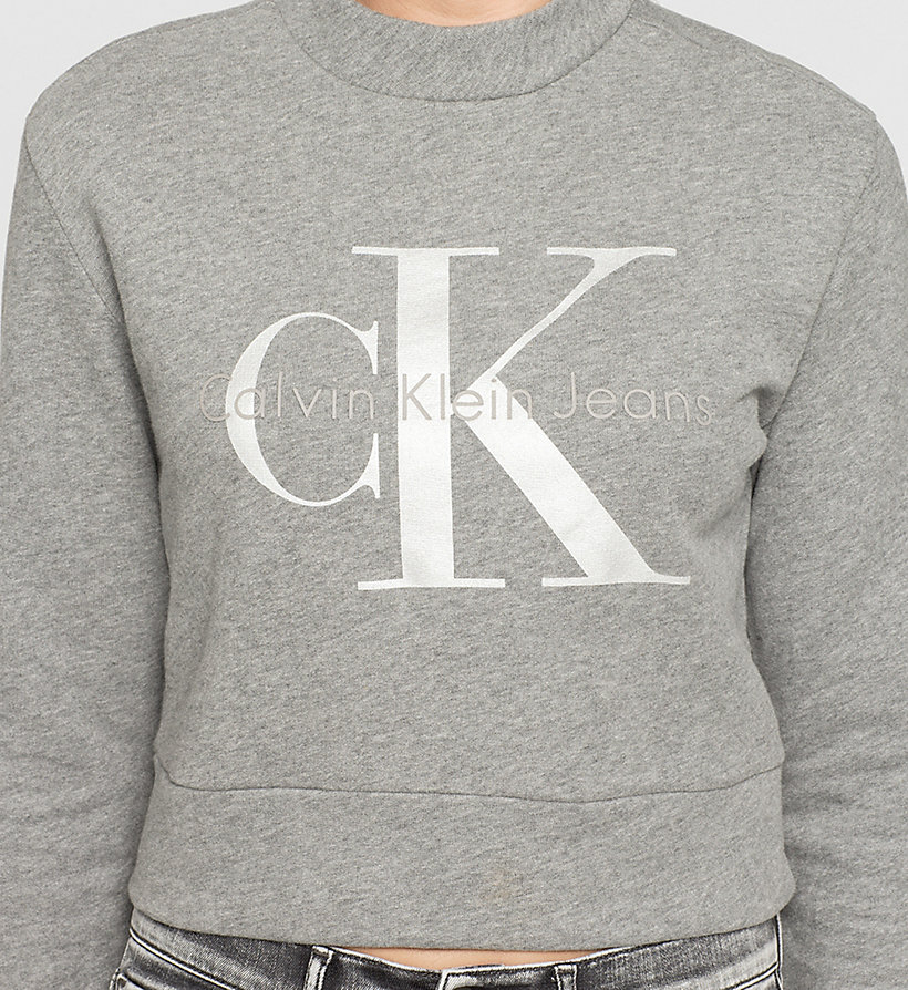 CKJEANS Cropped Logo Sweatshirt - LIGHT GREY HEATHER BC04 - VOL39 - CK JEANS UNDERWEAR - detail image 2