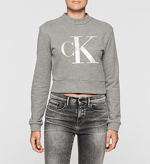 CKJEANS Cropped Logo Sweatshirt - LIGHT GREY HEATHER BC04 - VOL39 - CK JEANS SHEER MARQUISETTE - main image