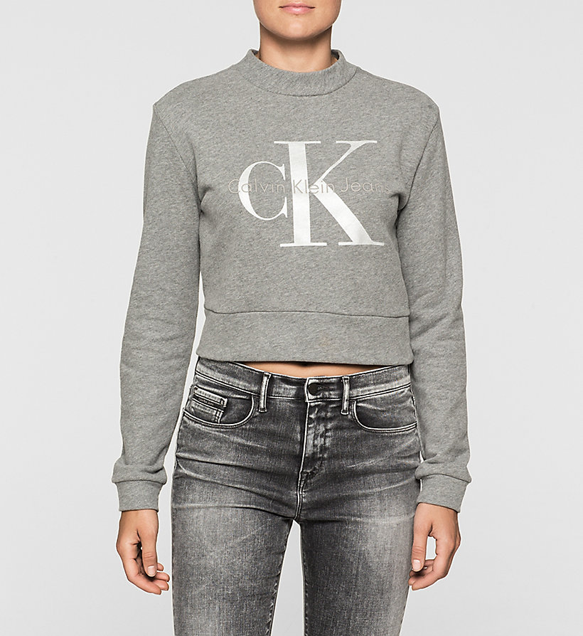 CKJEANS Cropped Logo Sweatshirt - LIGHT GREY HEATHER BC04 - VOL39 - CK JEANS UNDERWEAR - main image