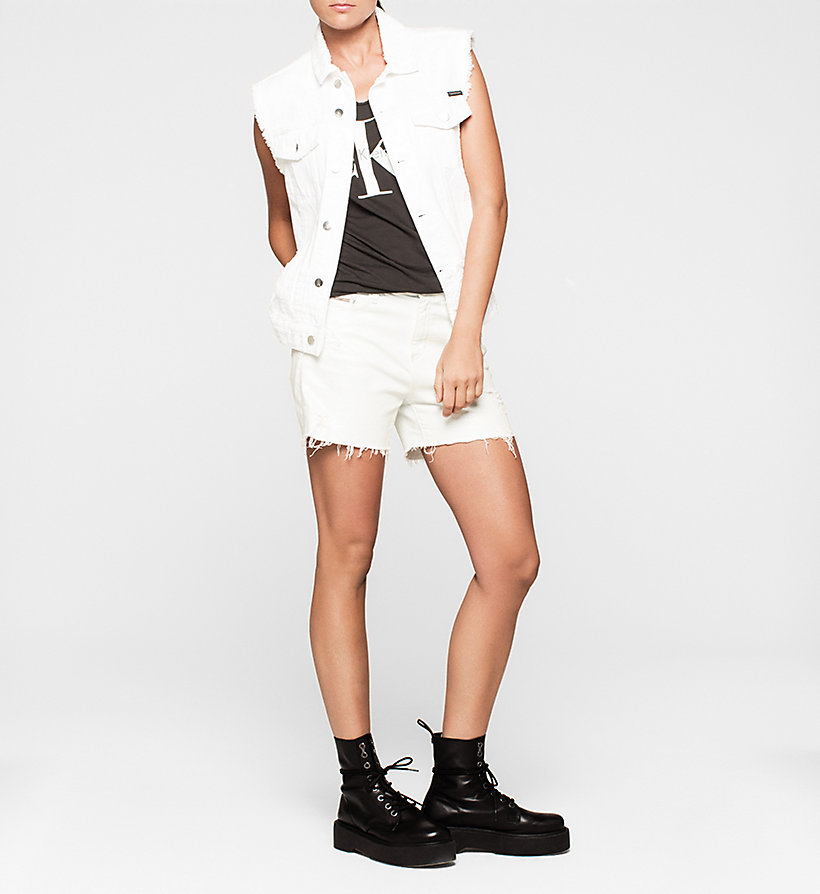 CKJEANS Destructed Denim Vest - SHREDDED WHITE GRAFFITI - CK JEANS OUTERWEAR - detail image 1
