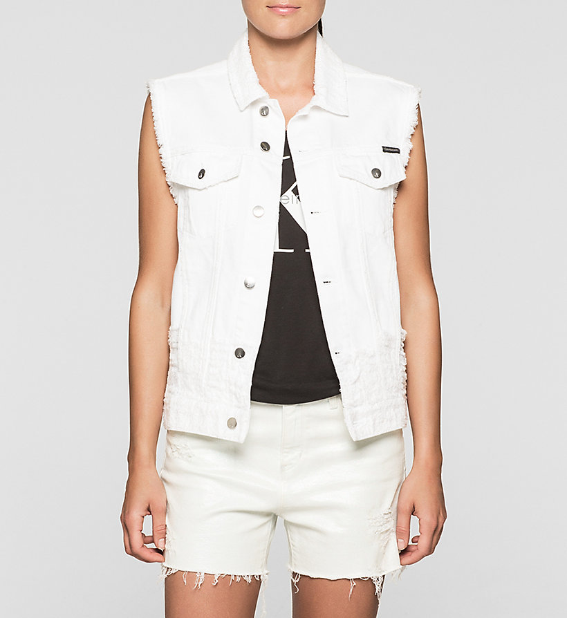 CKJEANS Destructed Denim Vest - SHREDDED WHITE GRAFFITI - CK JEANS OUTERWEAR - main image
