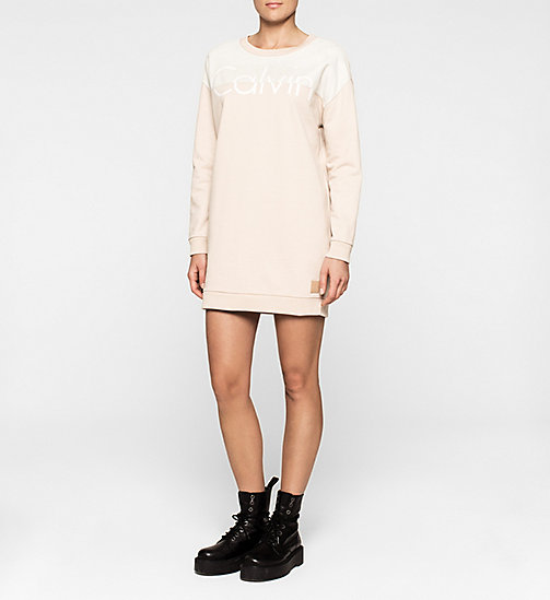 CALVINKLEIN Suede-Panelled Sweater Dress - SOVEREIGN PINK - CK JEANS DRESSES - main image