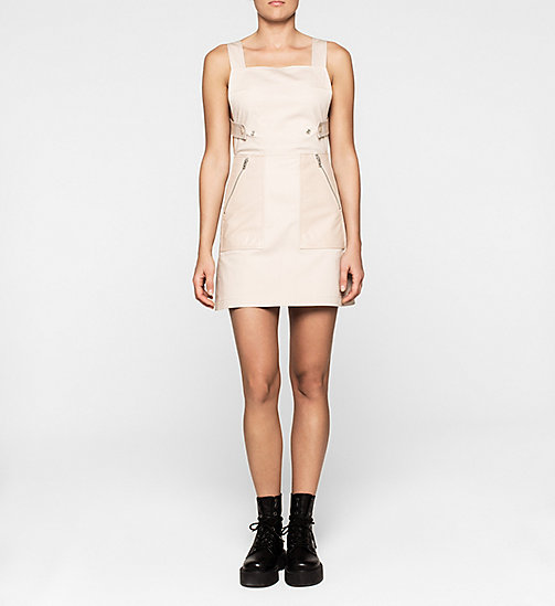 CALVINKLEIN Leather-Trimmed Pinafore Dress - SOVEREIGN PINK - CK JEANS DRESSES - main image