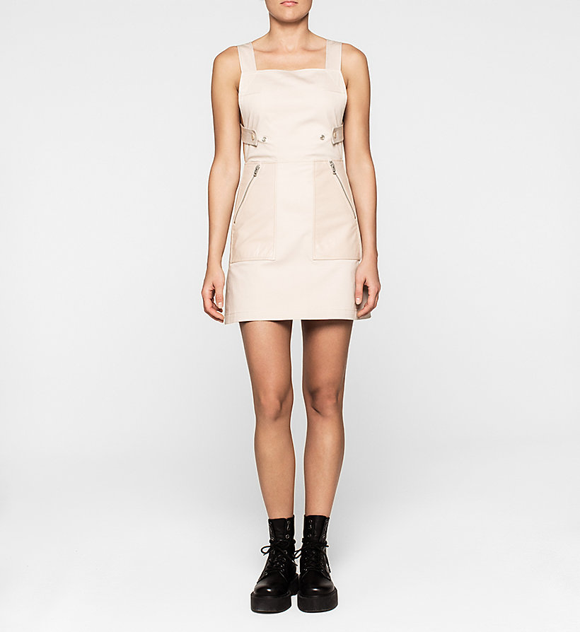 CKJEANS Leather-Trimmed Pinafore Dress - SOVEREIGN PINK - CK JEANS DRESSES - main image