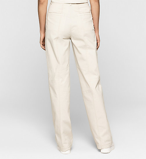 High Rise Khaki Trousers - MOONBEAM - CK JEANS TROUSERS - detail image 1