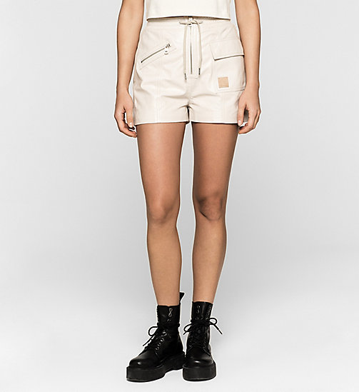 CKJEANS Leather Shorts - MOONBEAM - CK JEANS SHORTS - main image