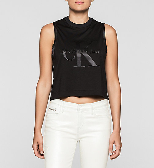 Cropped Logo Tank Top - CK BLACK - CK JEANS T-SHIRTS - main image
