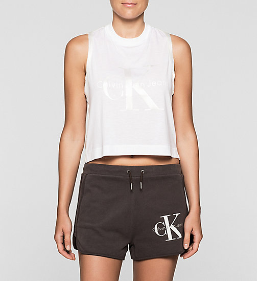 Cropped Logo Tank Top - BRIGHT WHITE - CK JEANS T-SHIRTS - main image