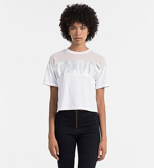 CALVIN KLEIN JEANS Material Mix Logo T-shirt - BRIGHT WHITE - CALVIN KLEIN JEANS ACTION-PACKED - main image