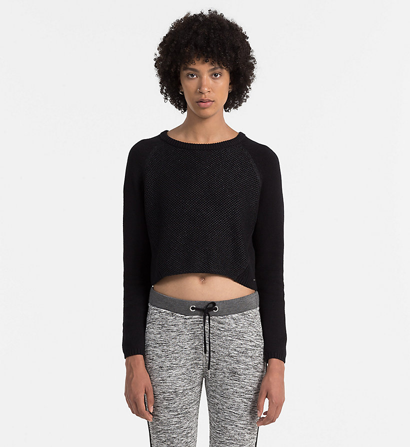 CALVIN KLEIN JEANS Coated Cotton Sweater - CK BLACK - CALVIN KLEIN JEANS JUMPERS - main image