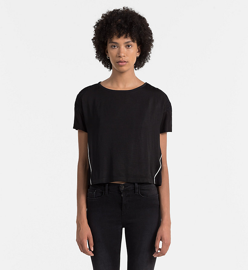 CALVIN KLEIN JEANS Material Mix Top - CK BLACK / BRIGHT WHITE - CALVIN KLEIN JEANS SHIRTS - main image