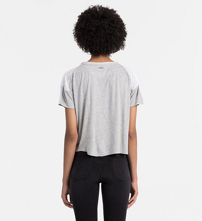 CALVIN KLEIN JEANS Material Mix Top - DAWN / LIGHT GREY HEATHER - CALVIN KLEIN JEANS SHIRTS - detail image 2