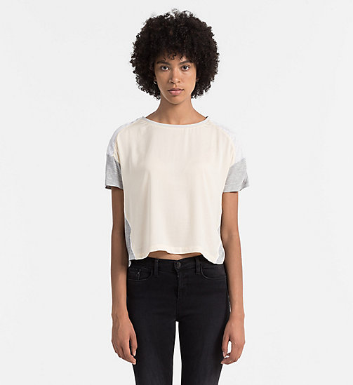 CALVIN KLEIN JEANS Material Mix Top - DAWN / LIGHT GREY HEATHER - CALVIN KLEIN JEANS ACTION-PACKED - main image