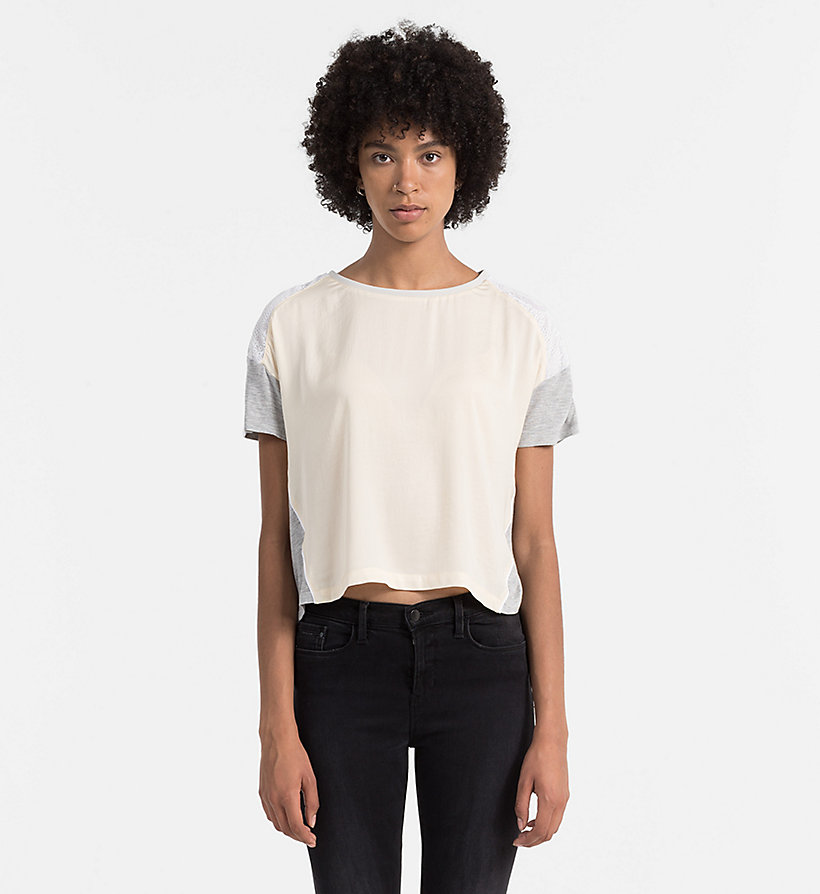 CALVIN KLEIN JEANS Material Mix Top - DAWN / LIGHT GREY HEATHER - CALVIN KLEIN JEANS SHIRTS - main image