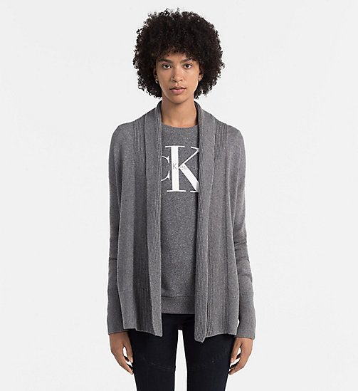 CKCOLLECTION Cardigan en laine mélangée - MID GREY HEATHER - CK JEANS PULLS - image principale